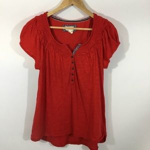 ANTHRO MEADOW RUE | Red Boho Peasant Cotton Top